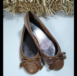 COACH 'concetta' brown leather capped toe flats